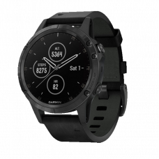 Garmin Fenix 5 Plus Sapphire Black / Black Leather Band