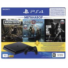 Sony PlayStation 4 Slim 1TB Jet Black + игры Days Gone, God of War, Одни из нас